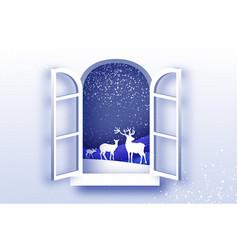 origami window frame deer family in paper cut vector image