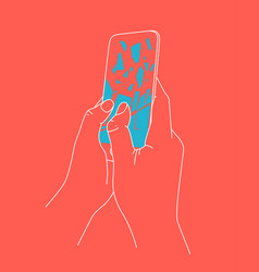 phone breakdown in hands coral vector image