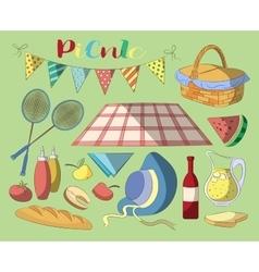 Picnic doodle set vector image