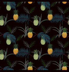 Pineapple with tropical leaves seamless pattern vector