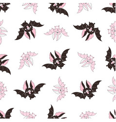 Pink bat halloween seamless pattern vector