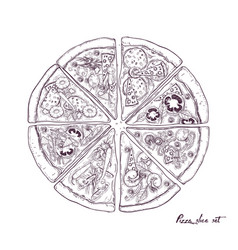 pizza divided into eight slices with different vector image