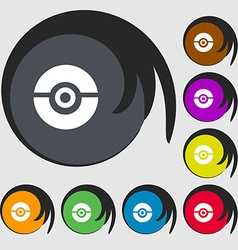pokeball icon sign Symbols on eight colored vector image