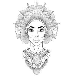 Portrait a african american girl in a wreath vector