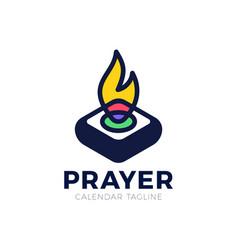 pray fire holy lamp logo concept logo church ligh vector image