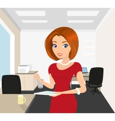 Pretty woman in the office holds a tablet pc in vector image