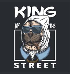 Pug dog king street vector