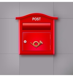Red mailbox hanging on the wall logo postal horn vector
