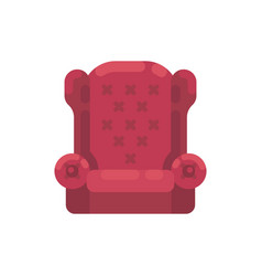 Red santa claus armchair cozy furniture flat icon vector