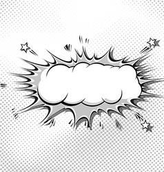 Retro pop-art comic book style grey explosion vector