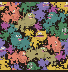 seamless background with funny monsters in paint vector image