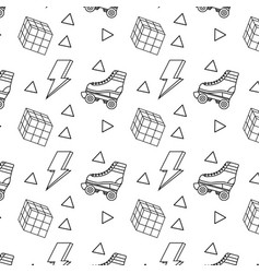 Seamless pattern roller skate and rubik cube vector