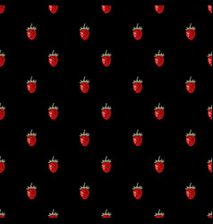 seamless pattern with hand drawn wild strawberries vector image