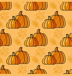 seamless pattern with pumkin and leaves vector image