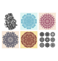 set circle lace ornament round ornamental vector image