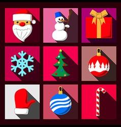 Set of Christmas long shadow flat icons vector image