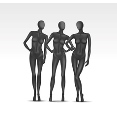 Set of Isolated Female Mannequins vector image