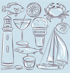 set of summer symbols shells crab boat vector image