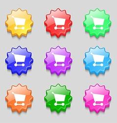Shopping basket icon sign symbol on nine wavy vector