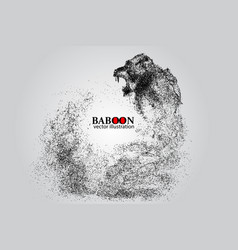 silhouette of a baboon from particles vector image