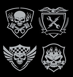 skull motor crest badge emblem set vector image