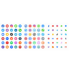Social media color round web icons collection vector