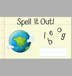 spell english word globe vector image