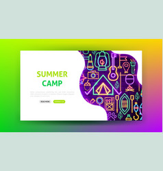summer camp neon landing page vector image