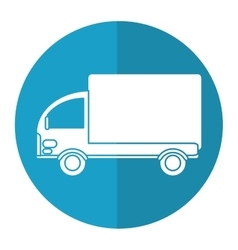 Truck mini delivery cargo blue circle vector