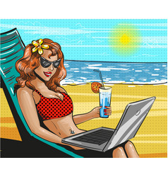 vintage pop art beach holiday vector image