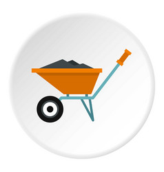 Wheelbarrow with construction debris icon circle vector
