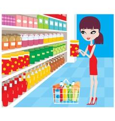 Woman cartoon in a supermarket vector