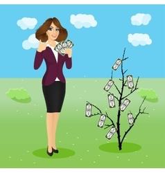 Woman holding a fan of money vector