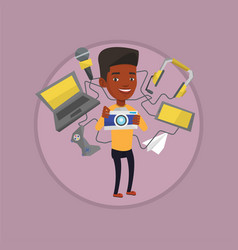 Young man surrounded with his gadgets vector