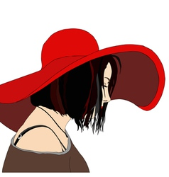 Young Woman with Hat vector image