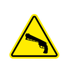 attention crime gun in yellow triangle road sign vector image vector image