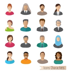 flat characters icons set vector image vector image