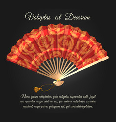 Rose flowers chinese folding fan poster vector