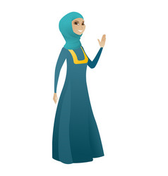 Young muslim business woman waving her hand vector