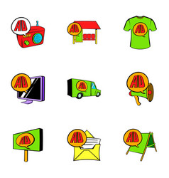ali delivery icons set cartoon style vector image vector image
