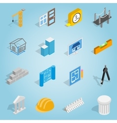Architecture set icons isometric 3d style vector image vector image