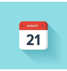 August 21 isometric calendar icon with shadow vector