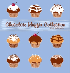 Chocolate Muffin Collection Lined vector image