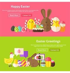 Easter Greetings Flat Website Banners Set vector image