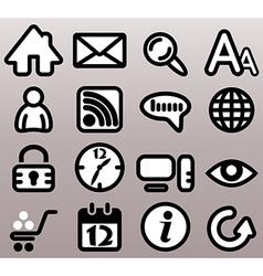 Internet n web bw icons vector image