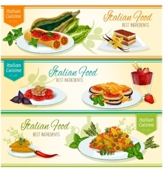 Italian cuisine popular lunch dishes banner set vector image vector image