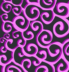 Pattern with purple stylish spiral curls on dark vector image vector image