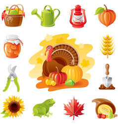 Autumn nature gardening icon set with farm and vector image vector image
