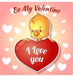 Cute chick for valentines day vector
