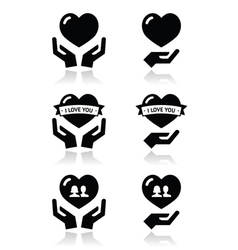 Hands with heart love relationship icons set vector image